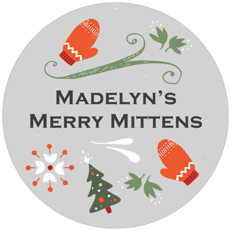 circle food/craft labels - stone - merry mittens (set of 20)