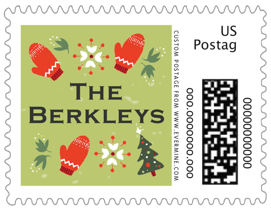 small custom postage stamps - green tea - merry mittens (set of 20)