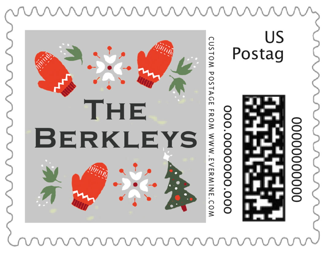 small custom postage stamps - stone - merry mittens (set of 20)
