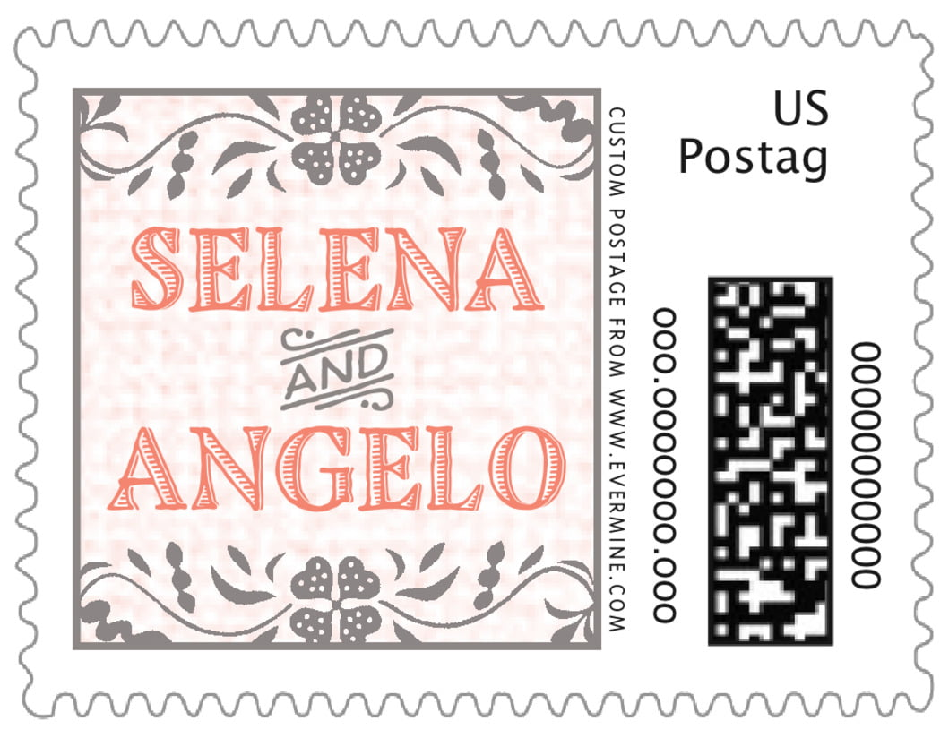 small custom postage stamps - coral - miran silk (set of 20)