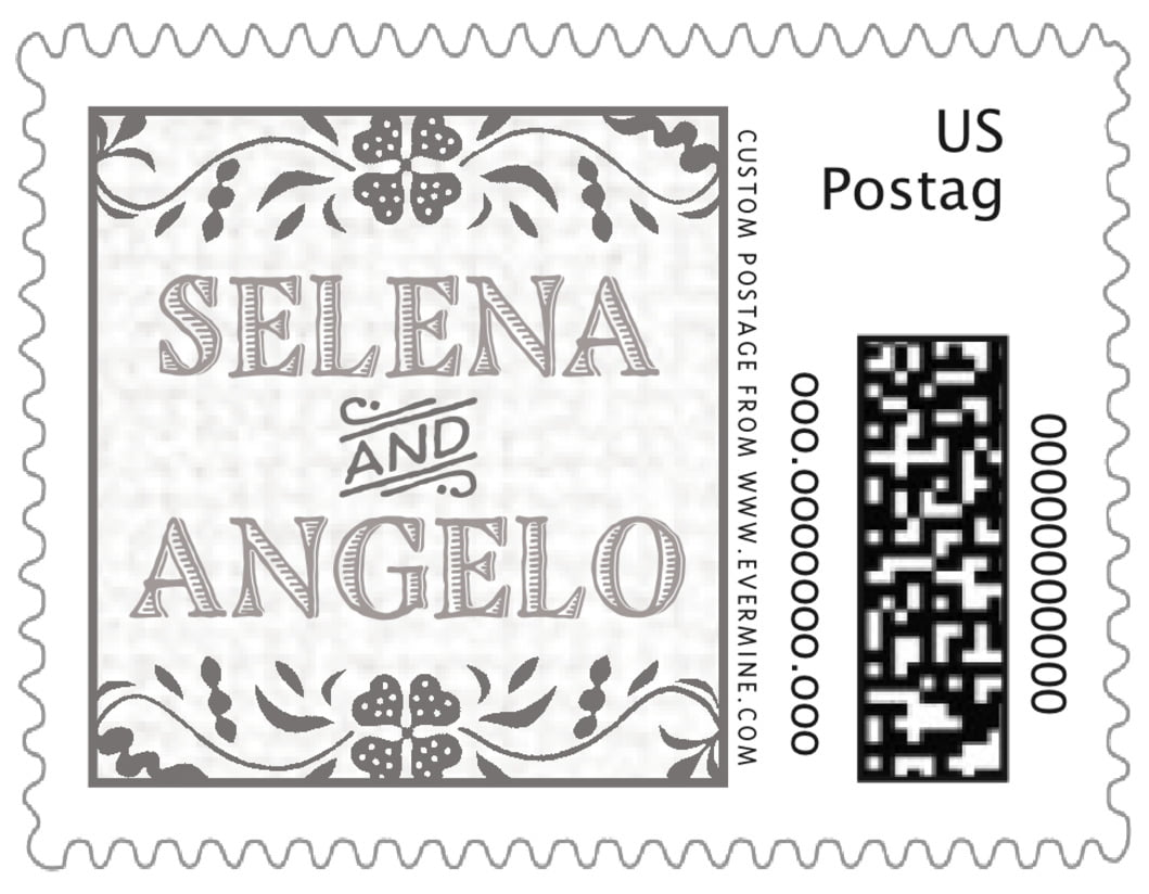 small custom postage stamps - stone - miran silk (set of 20)