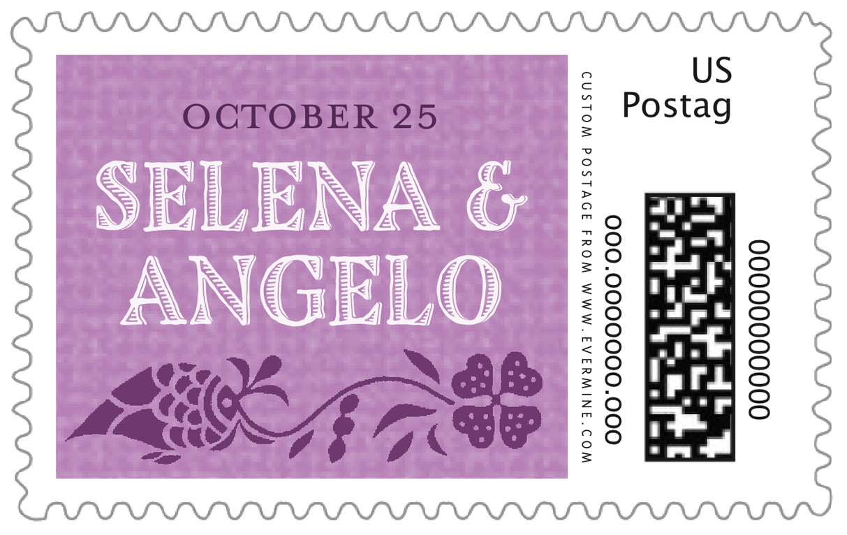 custom large postage stamps - radiant orchid - miran silk (set of 20)