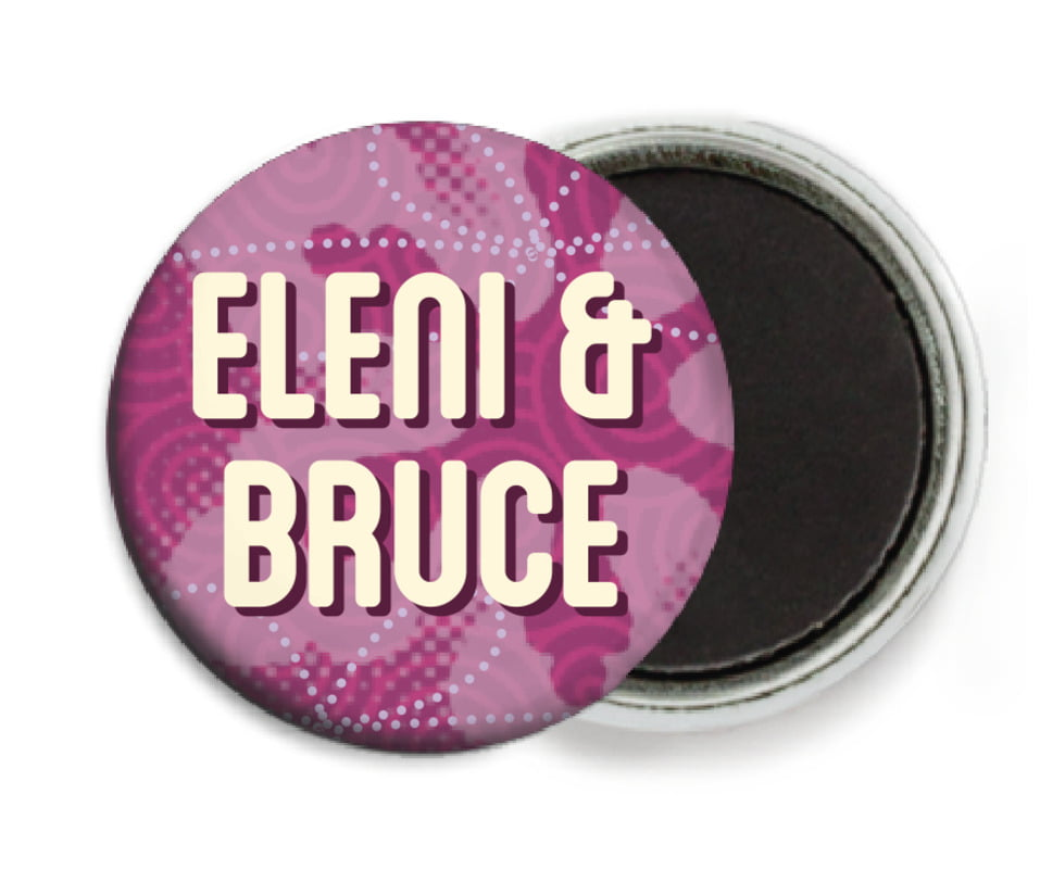 custom button magnets - plum - mist & snow (set of 6)