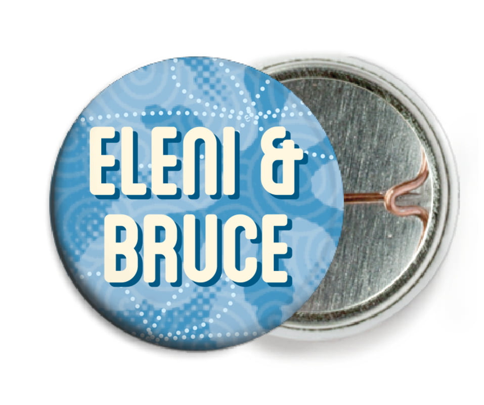 custom pin back buttons - blue - mist & snow (set of 6)