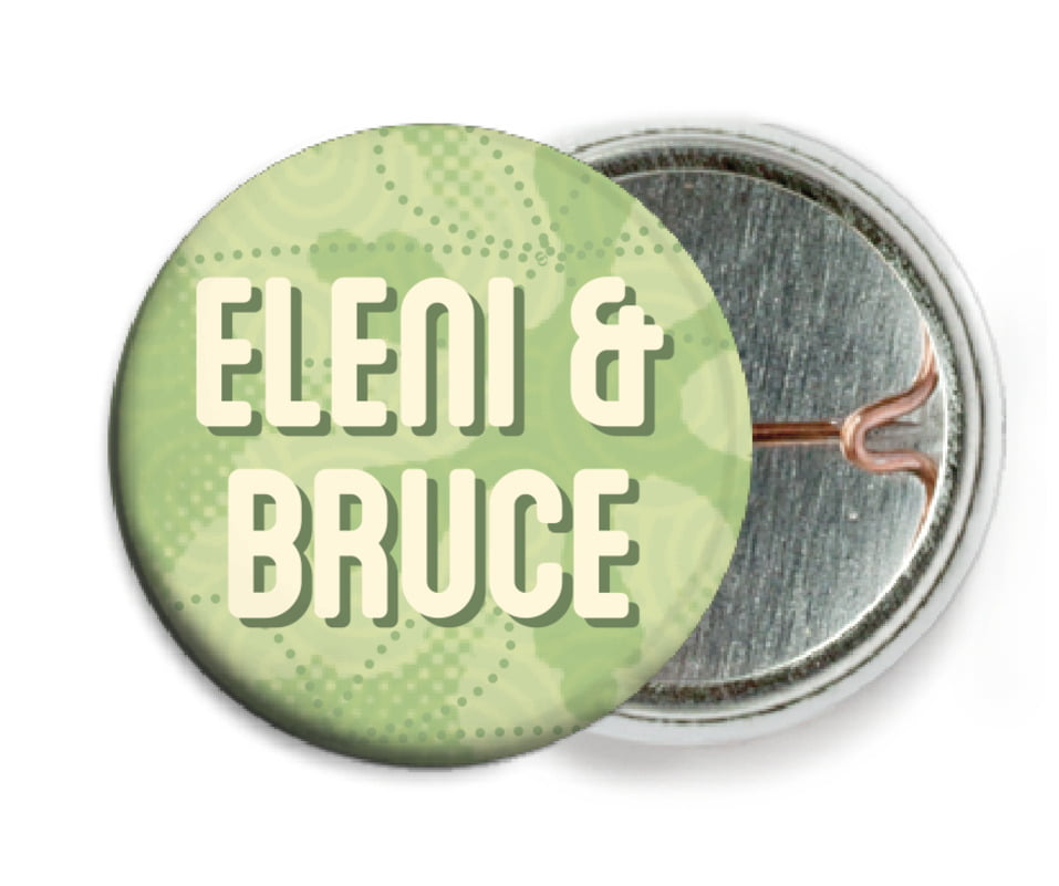 custom pin back buttons - green tea - mist & snow (set of 6)