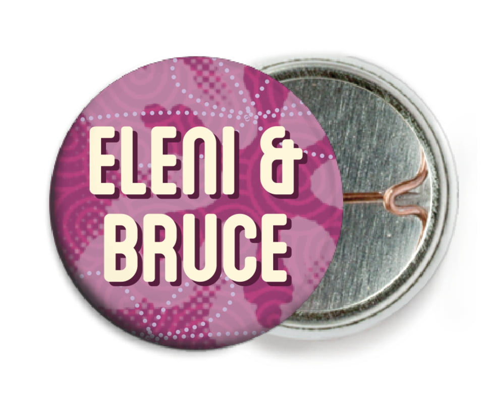 custom pin back buttons - plum - mist & snow (set of 6)
