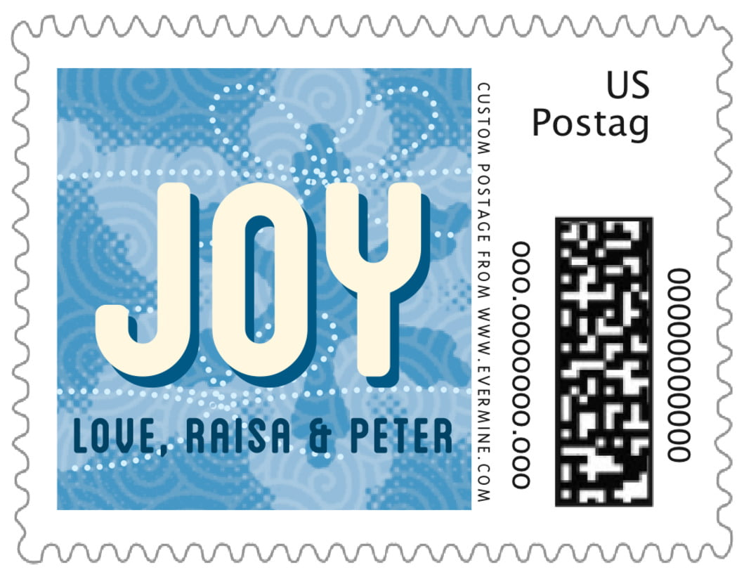small custom postage stamps - blue - mist & snow (set of 20)