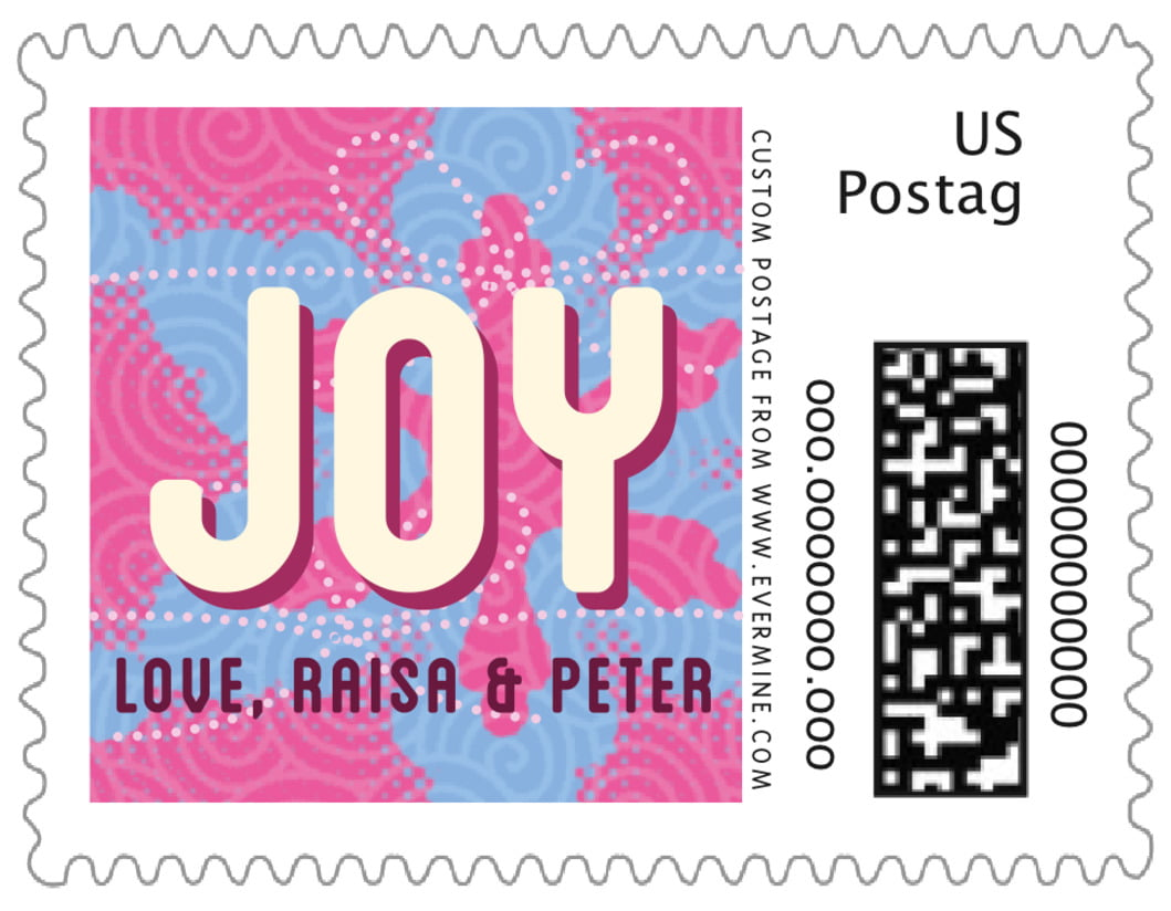 small custom postage stamps - bright pink - mist & snow (set of 20)