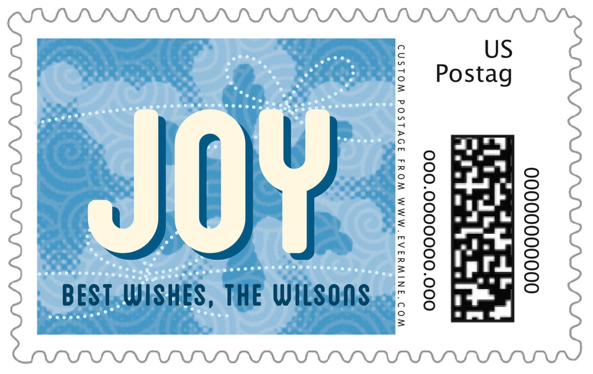 custom large postage stamps - blue - mist & snow (set of 20)