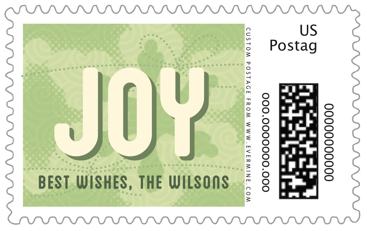 custom large postage stamps - green tea - mist & snow (set of 20)