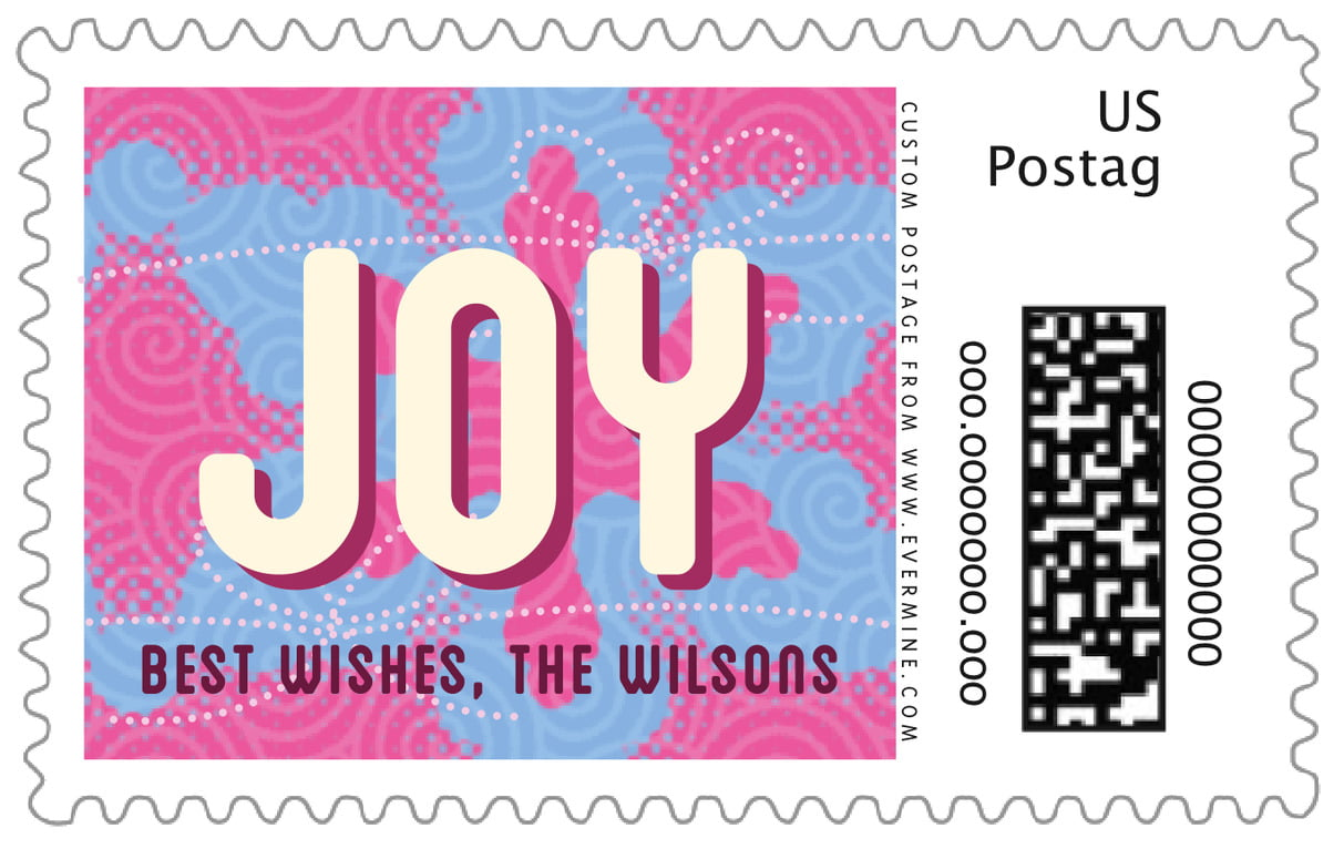 custom large postage stamps - bright pink - mist & snow (set of 20)