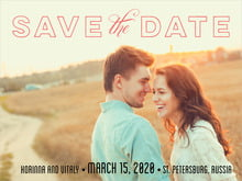 custom save-the-date cards - deep coral - modern union (set of 10) - $24.90