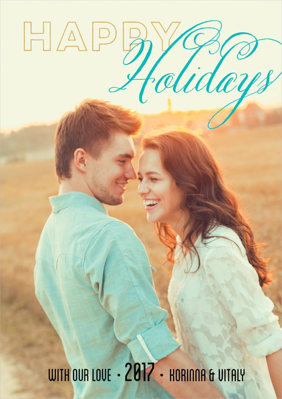 holiday cards - turquoise - modern holiday (set of 10)