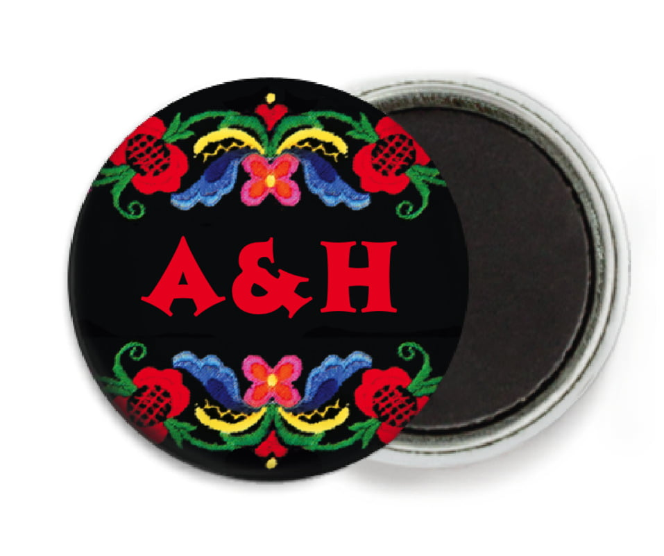 custom button magnets - black & red - magyar (set of 6)