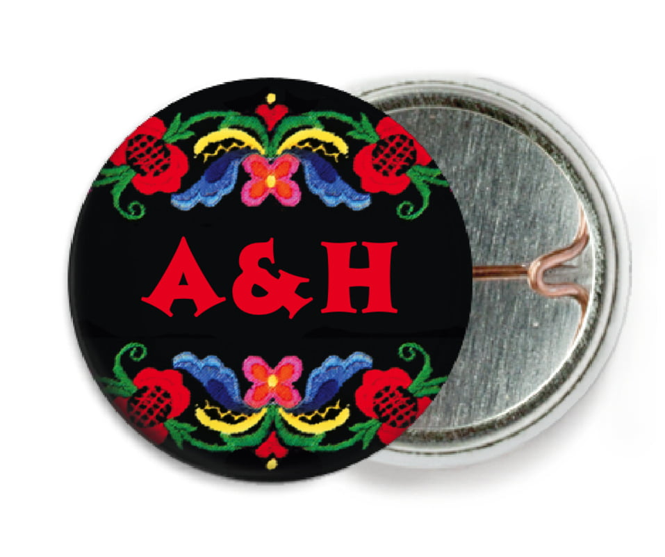 custom pin back buttons - black & red - magyar (set of 6)