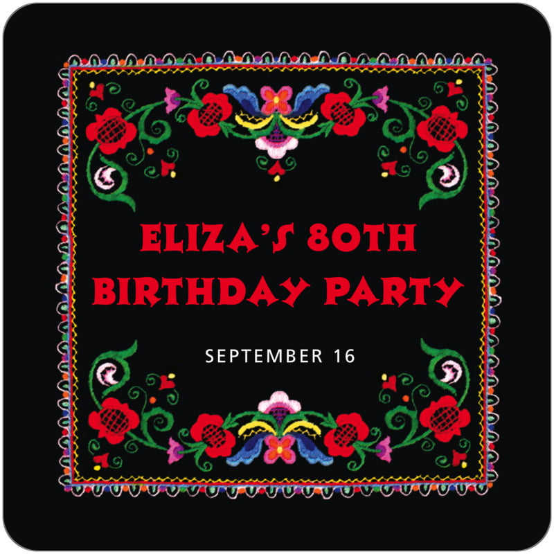 square holiday coasters - black & red - magyar (set of 12)