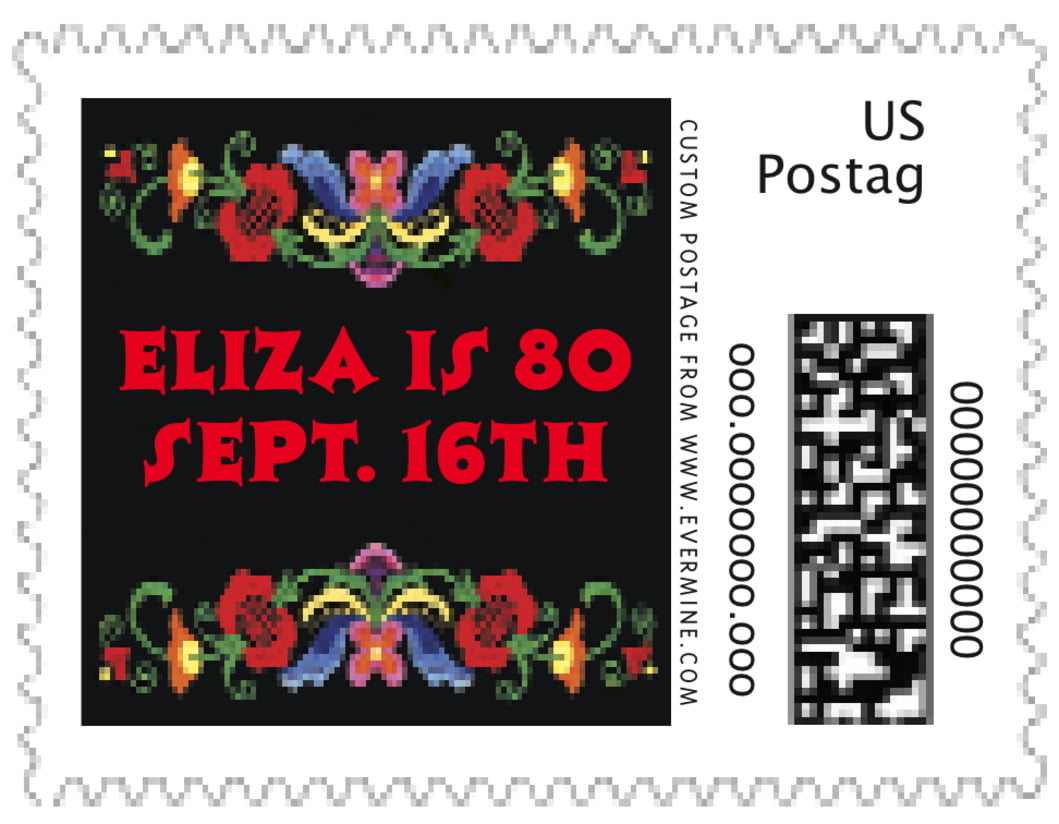 small custom postage stamps - black & red - magyar (set of 20)