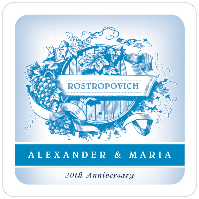 square wine coasters - blue - neufchatel (set of 12)