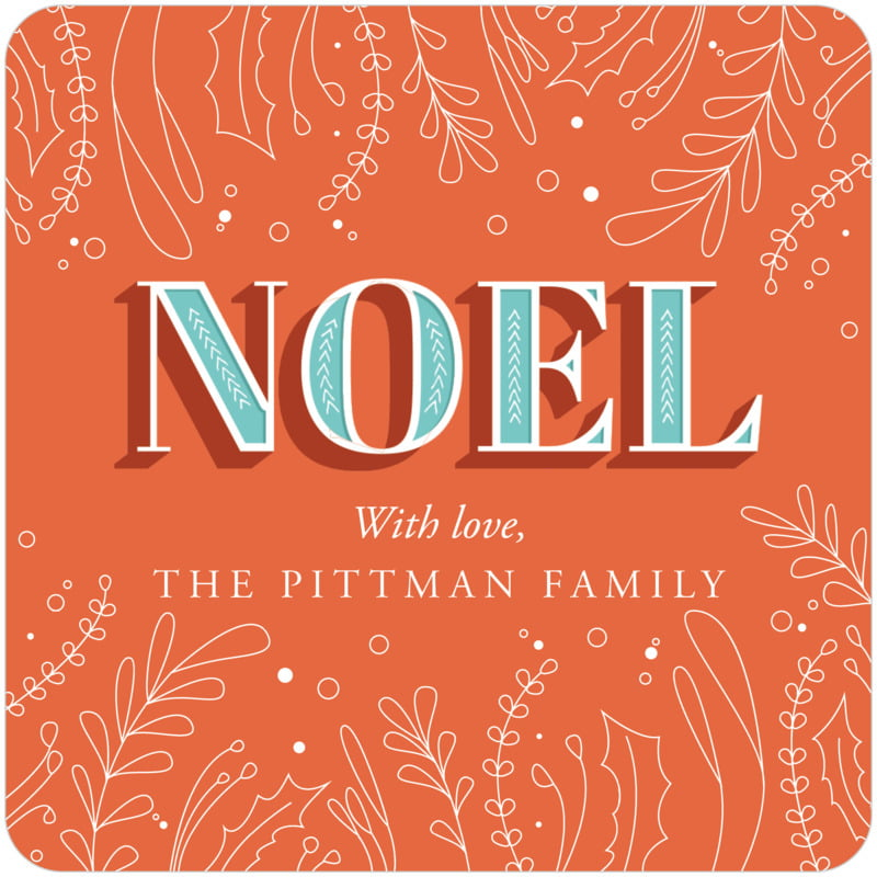 square holiday coasters - orange - noel (set of 12)