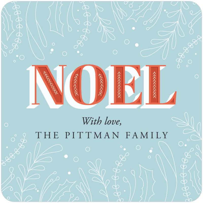 square holiday coasters - blue - noel (set of 12)