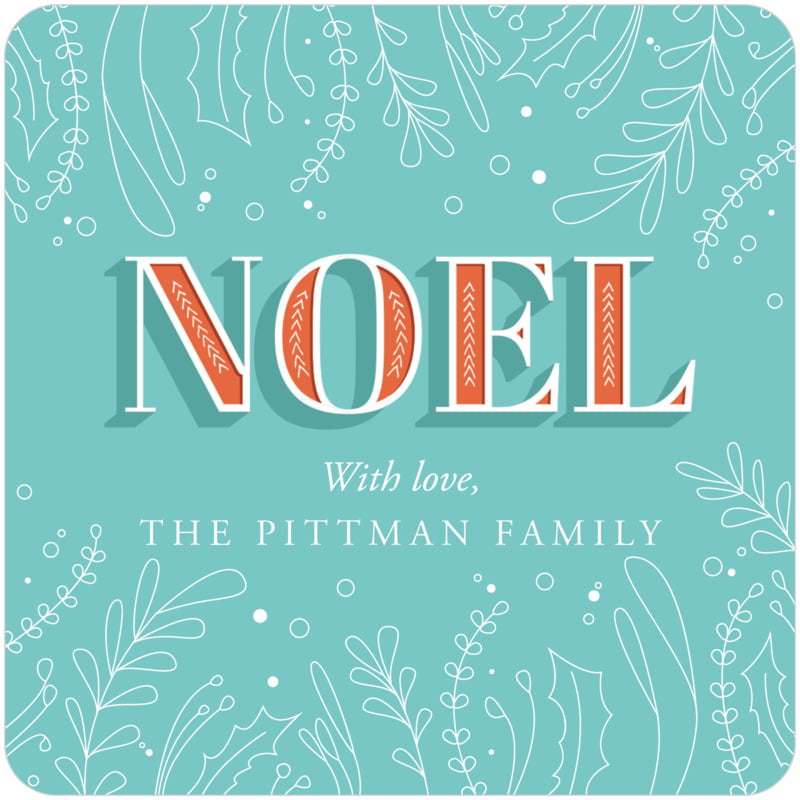square holiday coasters - jade - noel (set of 12)