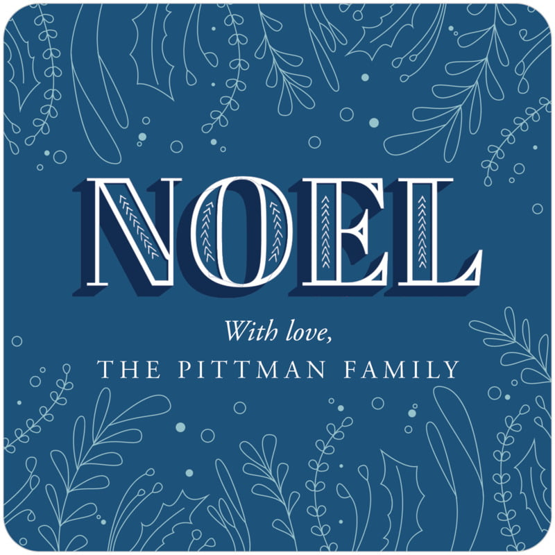 square holiday coasters - deep blue - noel (set of 12)