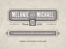 custom save-the-date cards - warm grey - neue retro (set of 10)