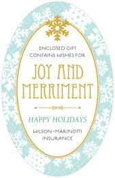 Snowflake Policy tall oval labels