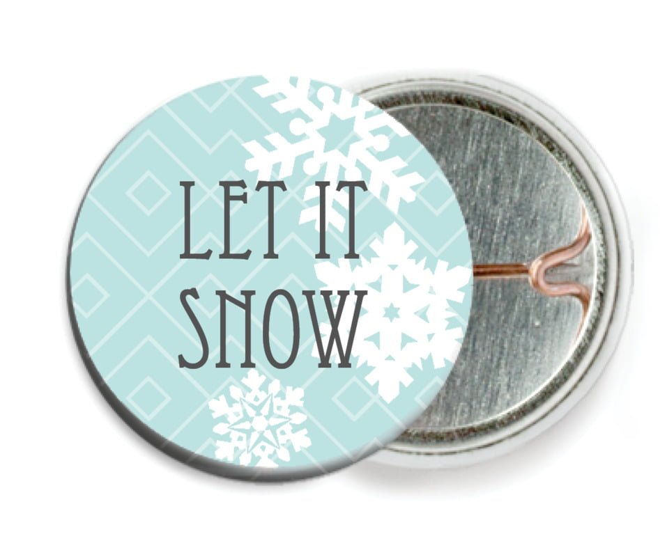 custom pin back buttons - sea glass - snowflake policy (set of 6)