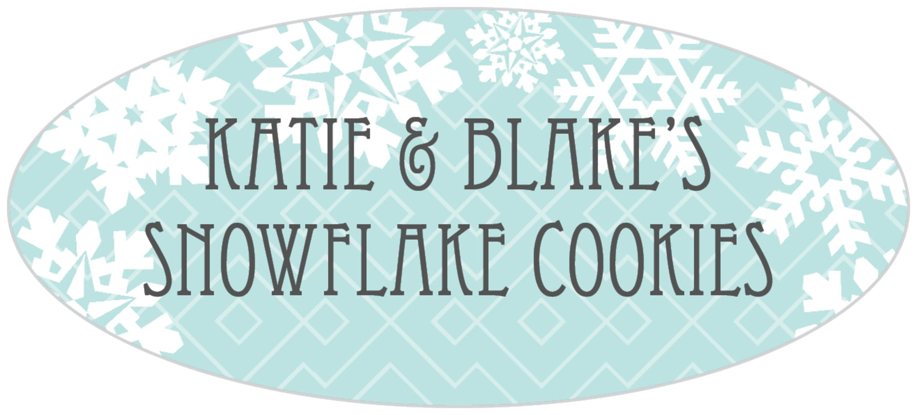 oval food/craft labels - sea glass - snowflake policy (set of 30)