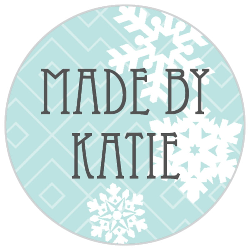 small circle food/craft labels - sea glass - snowflake policy (set of 70)