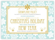 Snowflake Policy Photo Cards - Horizontal In Sea Glass