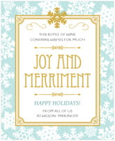 Snowflake Policy holiday wine labels