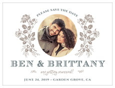 Bountiful Botanical Save The Date Card In Warm Grey