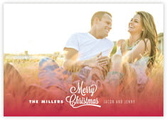 Ombre Christmas Photo Cards - Horizontal In Deep Red