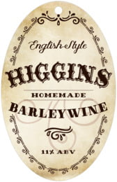 Old Time Higgins large oval hang tags