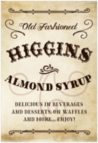 Old Time Higgins Tall Rectangle Label In Parchment