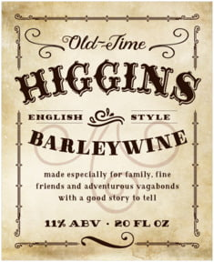 Old Time Higgins Large Label In Parchment