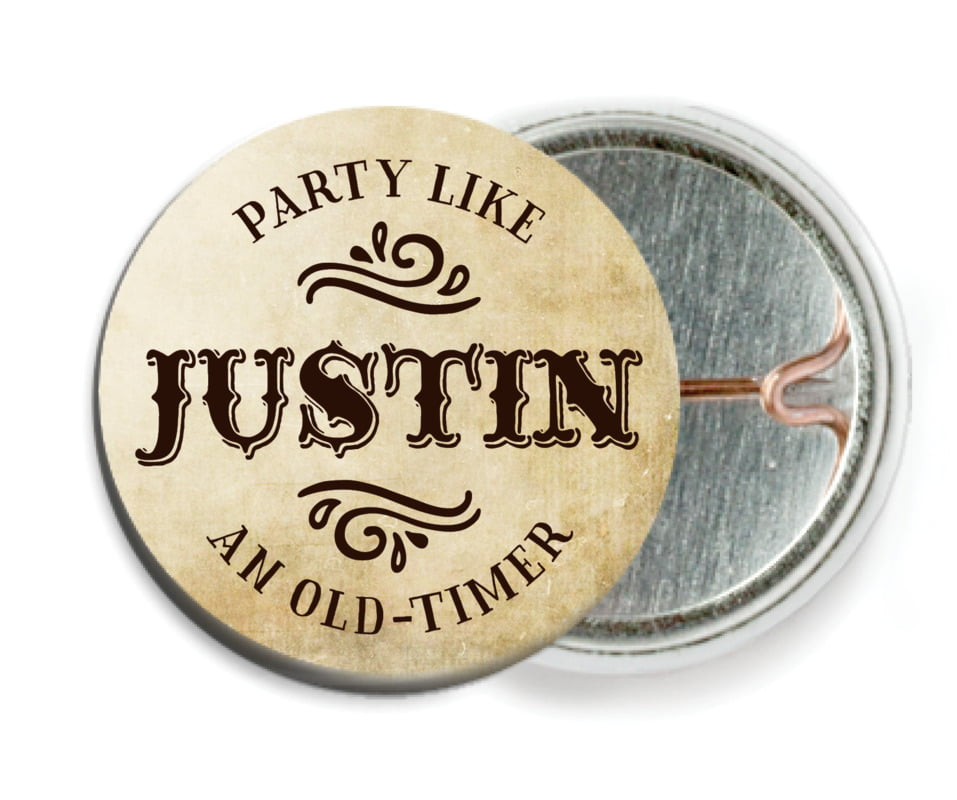 custom pin back buttons - parchment - old time higgins (set of 6)