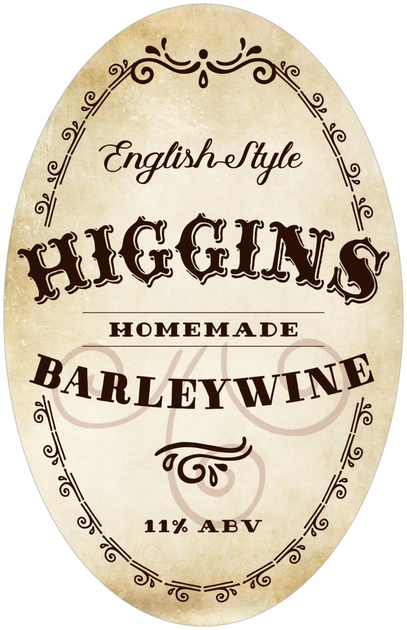 large oval food/craft labels - parchment - old time higgins (set of 8)
