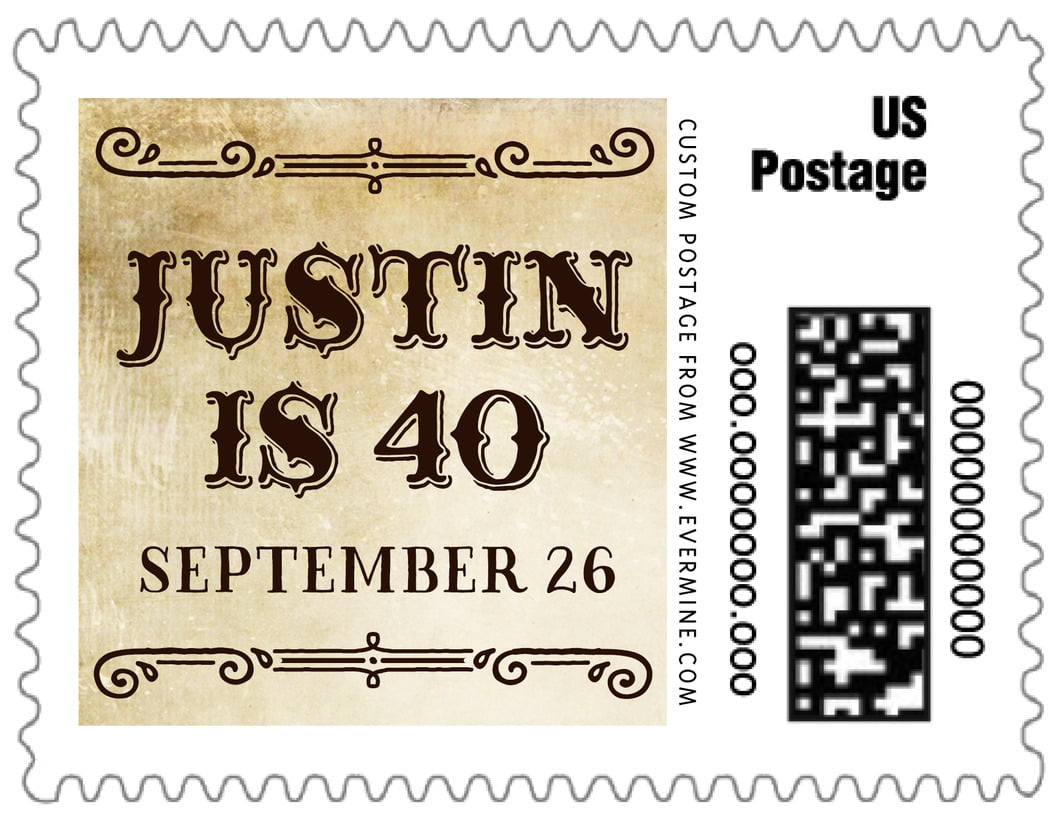 small custom postage stamps - parchment - old time higgins (set of 20)