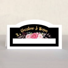 Blooms & Bands Place Card In Pink