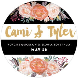 Blooms & Bands round coasters