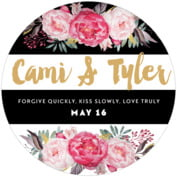 Blooms & Bands Round Coaster In Pink