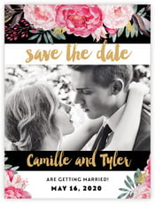 Blooms And Bands Save The Date Card In Pink