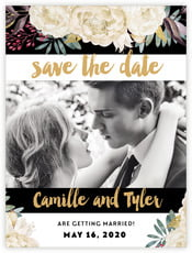 Blooms & Bands save the date cards