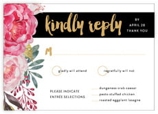 Blooms & Bands Response Card In Pink