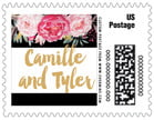 Blooms & Bands Small Postage Stamp In Pink