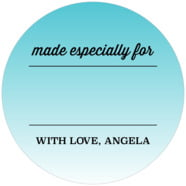 Ombre Sunset Large Circle Gift Label In Turquoise
