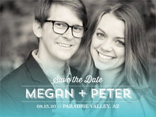 custom save-the-date cards - turquoise - ombre sunset (set of 10)